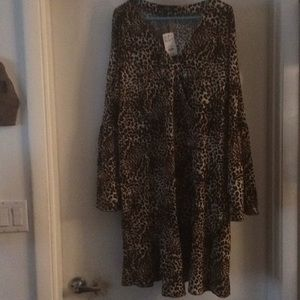 NWT Animal print Sz 3X bell sleeve dres